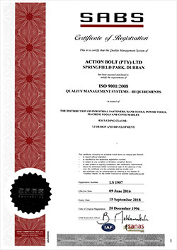 SABS ISO9001 Certificate